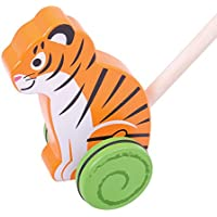 Bigjigs Toys木製Tiger Push Along – Walkingおもちゃfor Babies and Toddlers