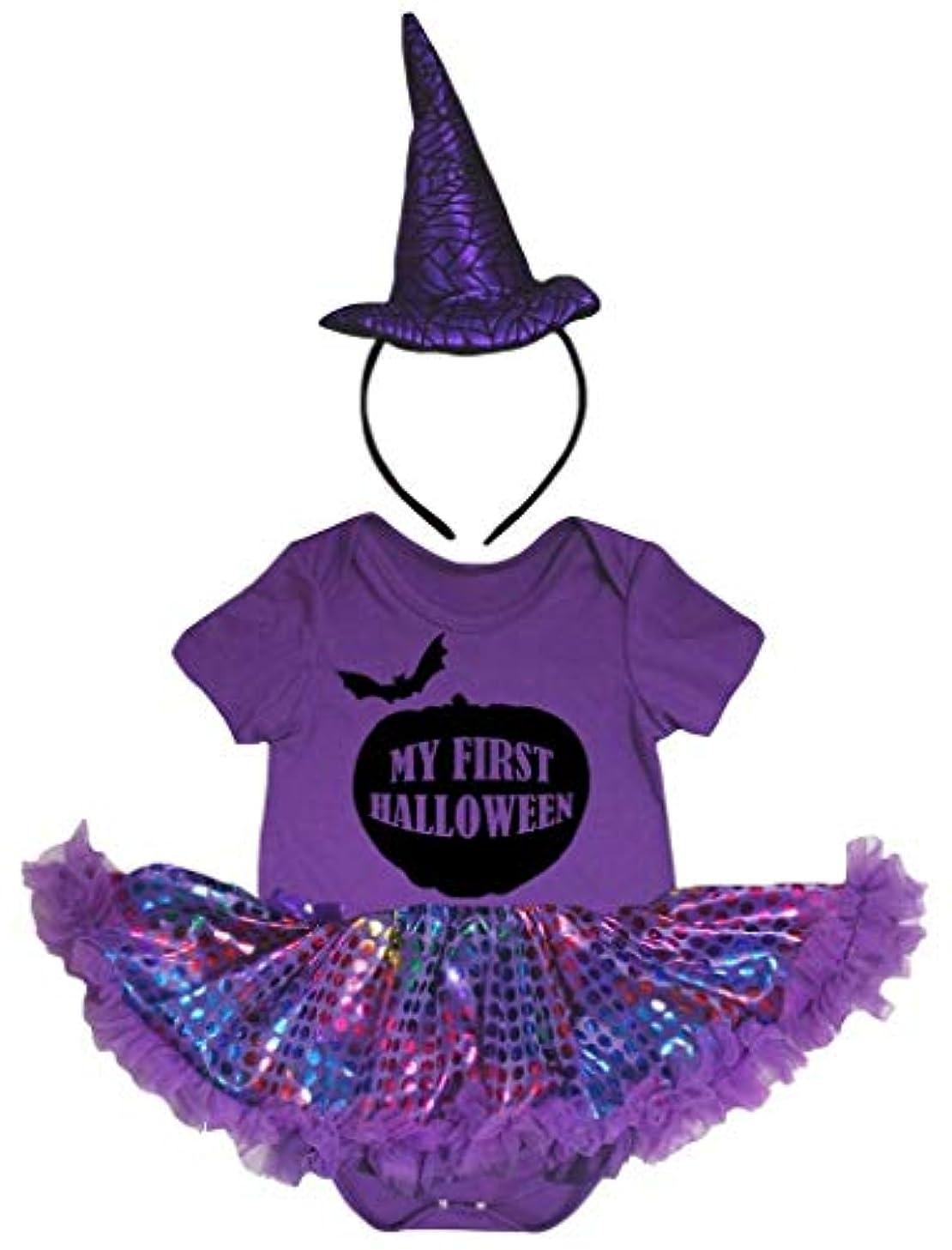 ルーム露伸ばす[キッズコーナー] ハロウィン My First Halloween パープル ボディスーツ パープル ドット 子供のチュチ、コスチューム、子供のチュチュ、ベビー服、女の子のワンピースドレス Nb-18m (パープル, Medium) [並行輸入品]