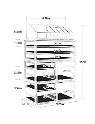 Makeup Organizer 4 Pieces Acrylic Jewelry and Cosmetic Storage Display Boxes with 11 Drawers