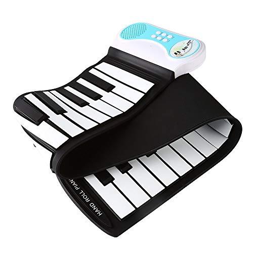キッズ49鍵フレキシブルロールアップ教育用電子デジタル音楽ピアノ鍵盤録音機能、8種類の音色、6種類の教育用デモソング&ビルトインスピーカー - ブルー