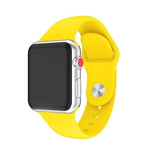 For apple watch band,YAYUU アップルウォッチシリーズ3、シリーズ2、シリーズ1、スポーツ、エディションのためのソフトシリコン調整可能な交換バンド (yellow, 38MM)