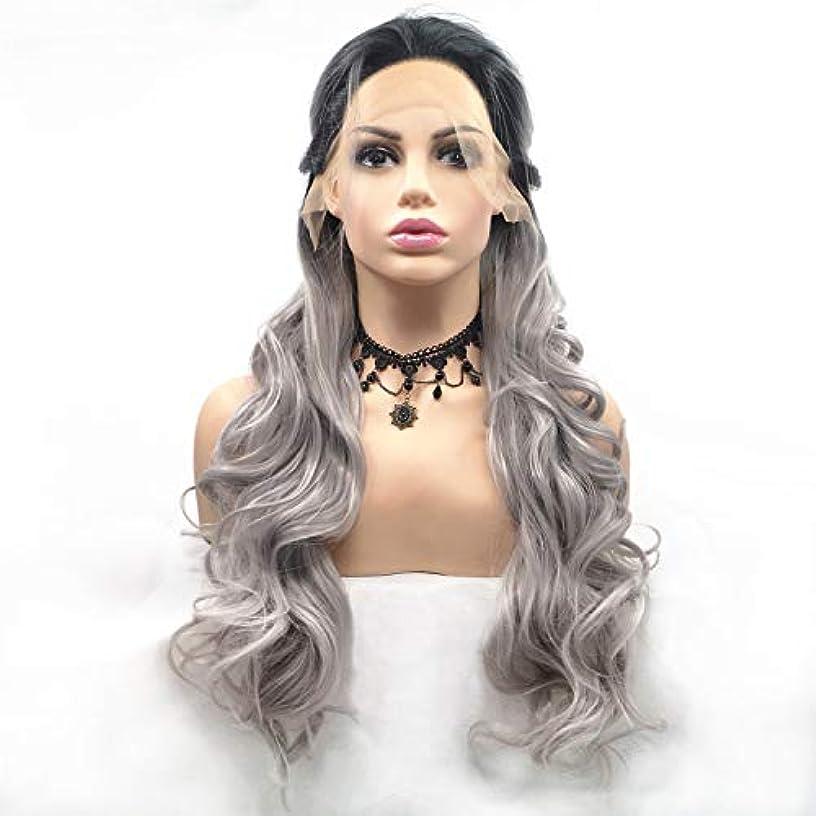 器具リークアクチュエータヘアピース リネンアッシュ長い巻き毛ウィッグ手作りレースヨーロッパとアメリカのかつらセット自然な髪のかつら