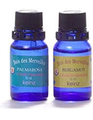 keinzエッセンシャルオイル「パルマローザ10ml&ベルガモット10ml」2種1セット ケインズ正規品 製造国アメリカ 水蒸気蒸留法による100%無添加精油 人工香料は使っていません。