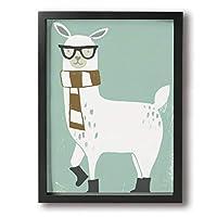 魅力的な芸術 30x40cm Llama With Scarf And Sunglass キャンバスの壁アート 画像プリント絵画リビングルームの壁の装飾と家の装飾のための現代アートワークハングする準備ができて
