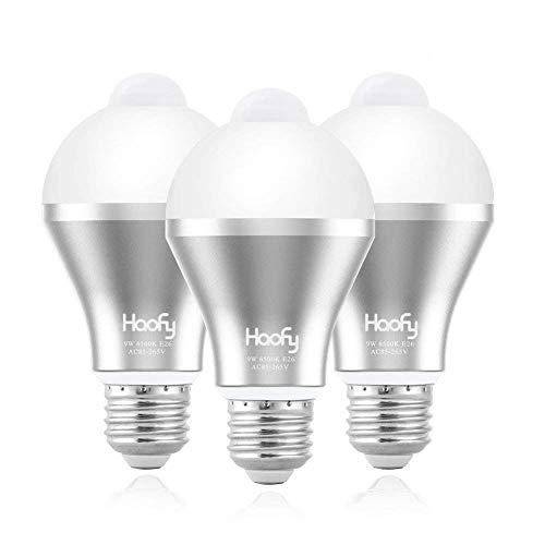人感センサー電球,Haofy LED電球 9W E26/27人感センサーライト明暗センサー付き 赤外線センサーライト 自動...