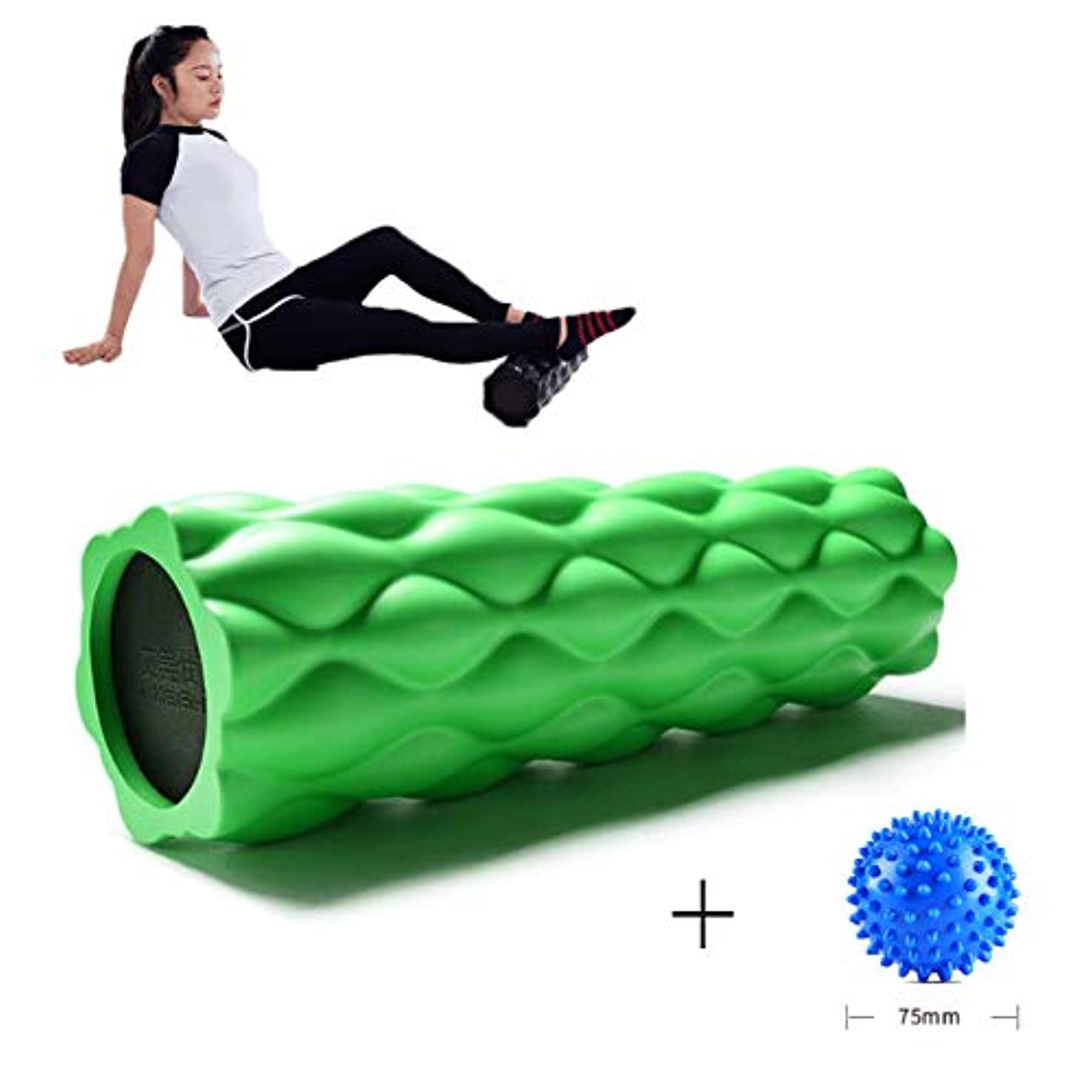 正確な中毒耐久フォームローラー 深部組織筋肉マッサージトリガーポイント解放(44.5 x 13.5 cm)のための高密度耐圧脊髄チャンネル,Green