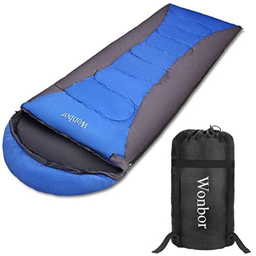 Wonbor 寝袋 シュラフ 封筒型 スリーピングバッグ -2度-15度 春夏秋用 190t 防水 軽量 コンパクト 収納袋付き キャンプ アウトドア 登山 丸洗い