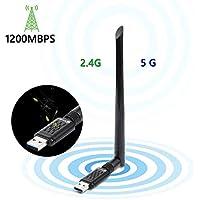 USB3.0 WiFi無線LAN子機 1200Mbps 5GHz/2.4GHz 5dBi高速通信 放熱穴 Windows10/8/7/XP/Vista/Mac/Linux対応