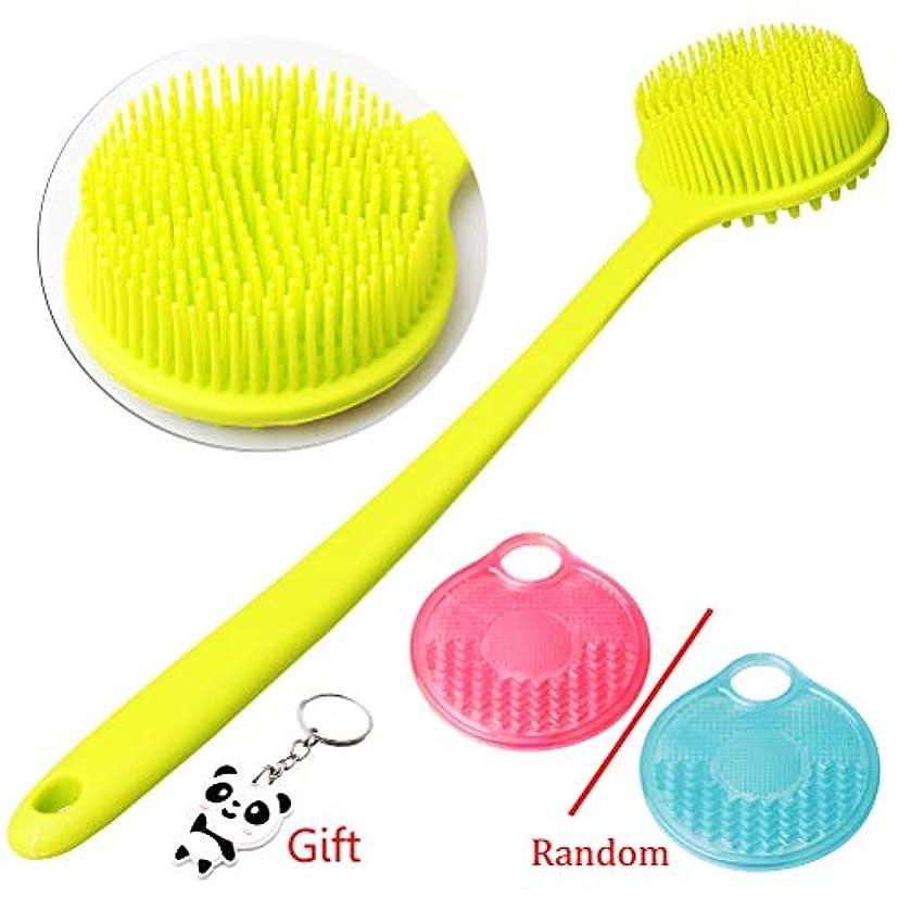 シャワーラップトップ脆いボディブラシ 体洗いブラシ 2個セット シャワーブラシ 血行促進 角質除去 美肌効果 お風呂用 シリコン製 グリーンとピンク