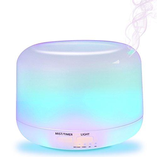 Aiopake アロマディフューザー 加湿器 超音波式 卓上加湿器 加湿効果 タイマー設定機能 LEDライト付き 安全性高い 空焚き防止機能 リラックスの雰囲気 300ml ホワイト