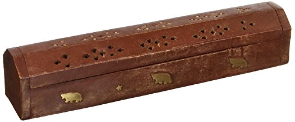 場所溢れんばかりのシュリンクSouvNear 30cm Wooden Incense Stick Burner Coffin Incense Burner Cone Holder with Storage Compartment Regal Hand...
