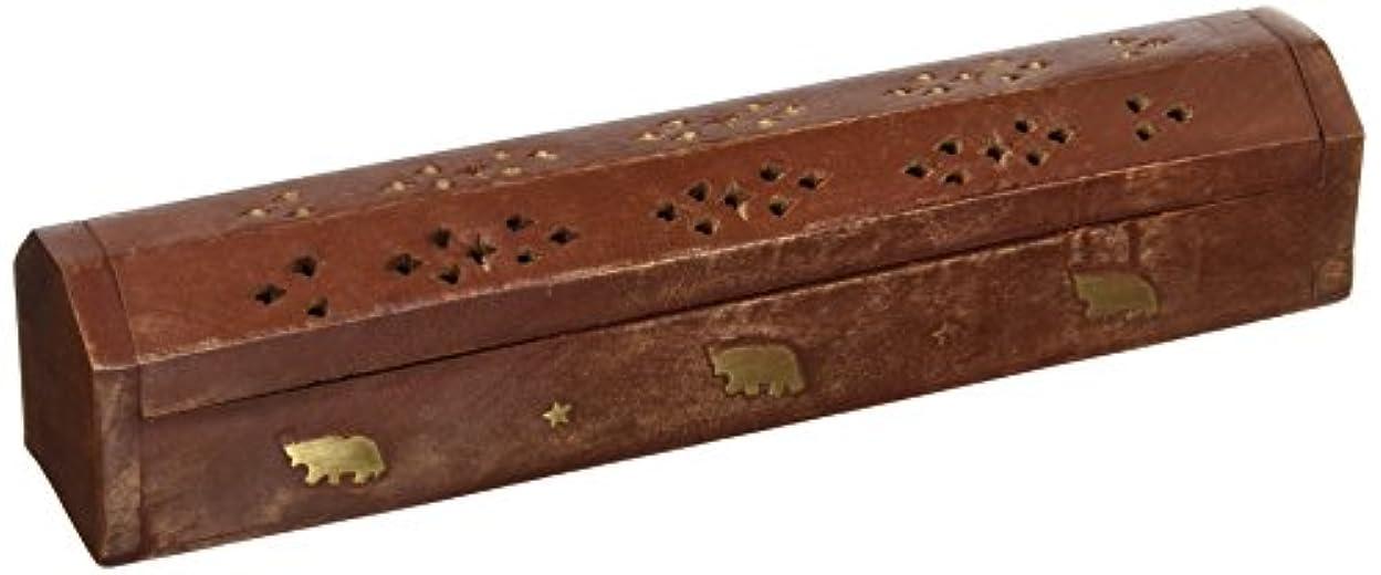 参加する苦悩偽SouvNear 30cm Wooden Incense Stick Burner Coffin Incense Burner Cone Holder with Storage Compartment Regal Hand...