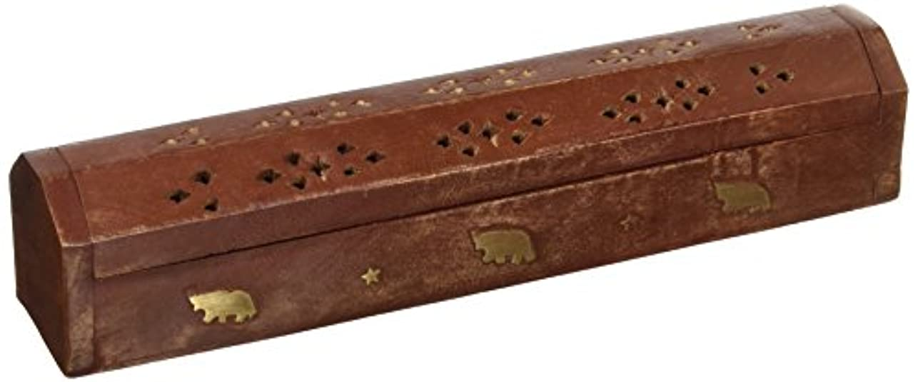 拡声器勉強する良いSouvNear 30cm Wooden Incense Stick Burner Coffin Incense Burner Cone Holder with Storage Compartment Regal Hand...