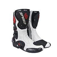 プロテクトスポーツブーツ メンズオートバイ靴 レーシングブーツ バイクブーツ SPEED BIKERS 42サイズ (26-26.5cm) ホワイト