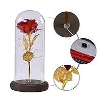 クリエイティブギフト24K金箔造花のLEDナイトローズガラスカバーバレンタインデーのギフトホームデコレーション:レッド、中国