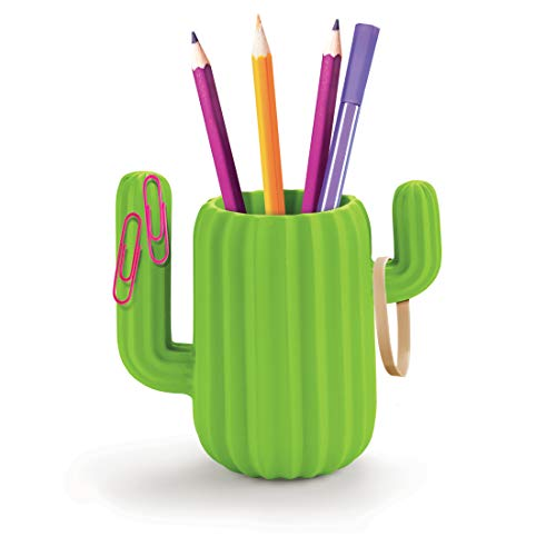 Mustard Pen Holder Desktop Organiser - Green Cactus