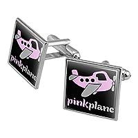 ピンクPlane AirplaneロゴSquare Cufflink Set–シルバーまたはゴールド 1 Inch シルバー