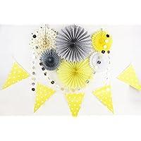SUNBEAUTY ペーパーファン サークルドットガーランド セット 出産祝い 誕生日 結婚式 デコレーションセット,8点 (Grey,Yellow,Cream)