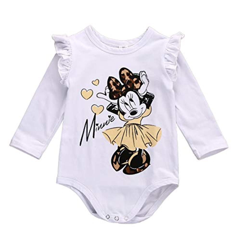 ロンパース ベビー服 ミッキーマウス柄 長袖 英語プリント 女の子 カバーオール 白 可愛い 0ー18ケ月 (S)