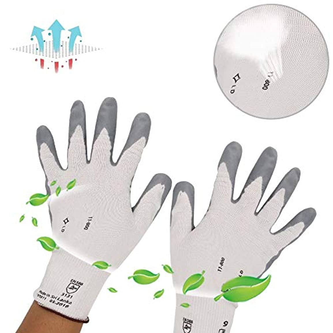 モック遺体安置所写真を描くユニバーサル保護手袋、ナイロンニトリルコート、滑り止め、耐摩耗性自動車用保護手袋、産業用(S)