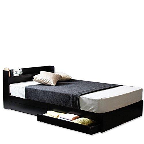 ビックスリー 【新価格】【フレームのみ】棚 引き出し収納 ベット 収納付き 木製ベッド コンセント付き 収納ベット 引き出し付きベッド カラー:ブラック 黒 サイズ:Dサイズ ダブル