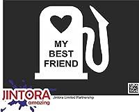 JINTORA ステッカー/カーステッカー - My best friend - 私の親友 - 99x99 mm - JDM/Die cut - 車/ウィンドウ/ラップトップ/ウィンドウ - 白