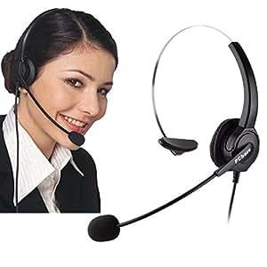 業務用ヘッドセット、PChero 4ピンRJ9コネクタのケーブル付き、電話問合せサービス、コールセンター、企業などのためのヘッドフォン【この商品はPanasonic製の電話にはお使い頂けません】
