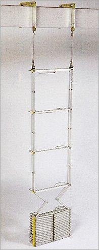 ◆避難はしご 5階用(10型)オリロー/自在フック◆アルミ製  ≪国家検定合格品!≫