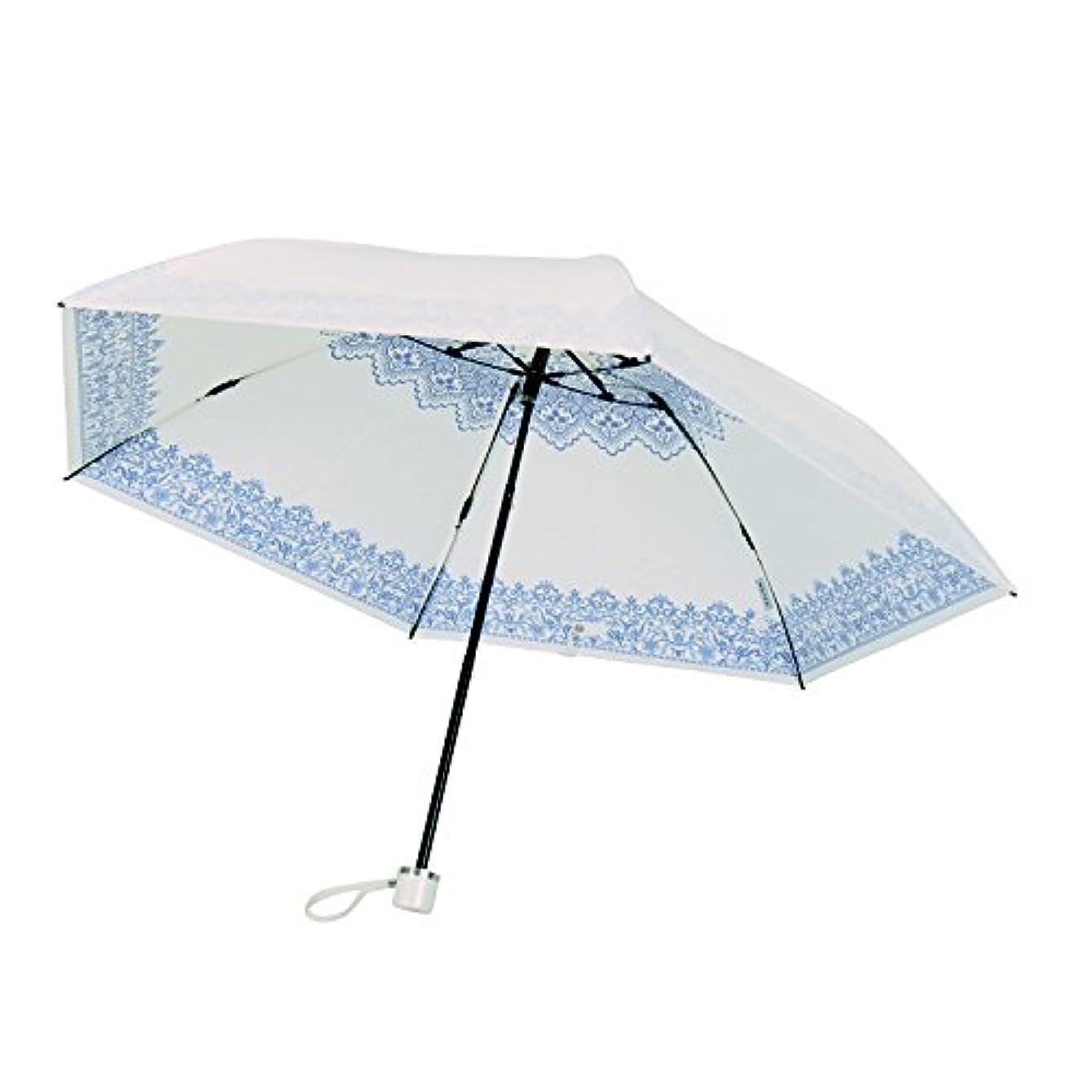 害虫歌絶え間ないUVION(ユビオン) ホワイト 折りたたみ傘 手開き 遮光 遮熱 日傘/晴雨兼用傘 レース 全3色 ブルー 6本骨 50cm UVカット 99%以上 軽量 コンパクト 3927BL
