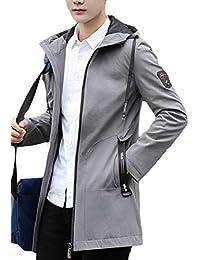Keaac メンズカジュアル軽量中長フードトレンチジャケットコート