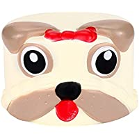 OVERMALおもちゃKawaii漫画犬ケーキSquishy Slow Risingクリーム香りつき応力Reliever Toys ゴールド