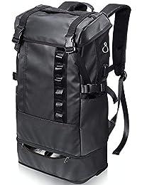 PEYNE リュック メンズ スクエアリュック バックパック - 2層式 拡張機能 大容量 スクエア リュックサック, 靴/弁当収納 スクエアバックパック, 全撥水加工 防水 キャンバス リュック,A4収納 多ポケット USBポート付き 15.6インチ PC ビジネスリュック,40L outdoor 通勤 修学 旅行 学生 ブラック バッグ, 多機能 通気性 黒 スクエアリュック