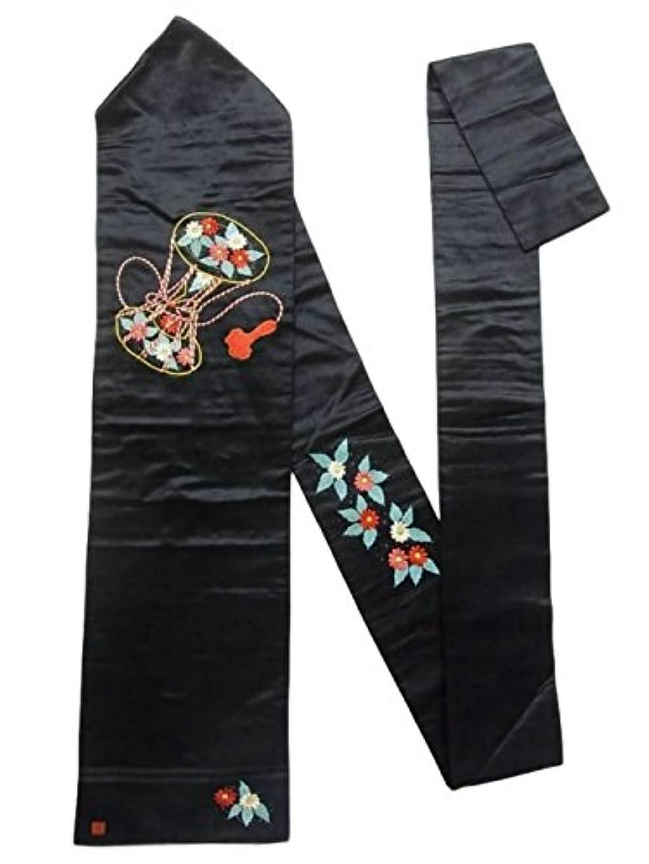 曲がった登録する木材アンティーク 名古屋帯  刺繍 繻子 鼓に花