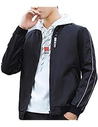 Keaac メンズカジュアルスリムフィットロングスリーブカラーブロックプリントTシャツ