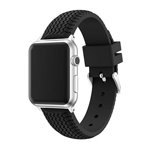 X-super 軽量スポーツバンド 交換バンド 対応 アップルウォッチ Nike+ / New Apple iWatch Series 2 / Apple Watch Series 1 (42mm, ブラック)