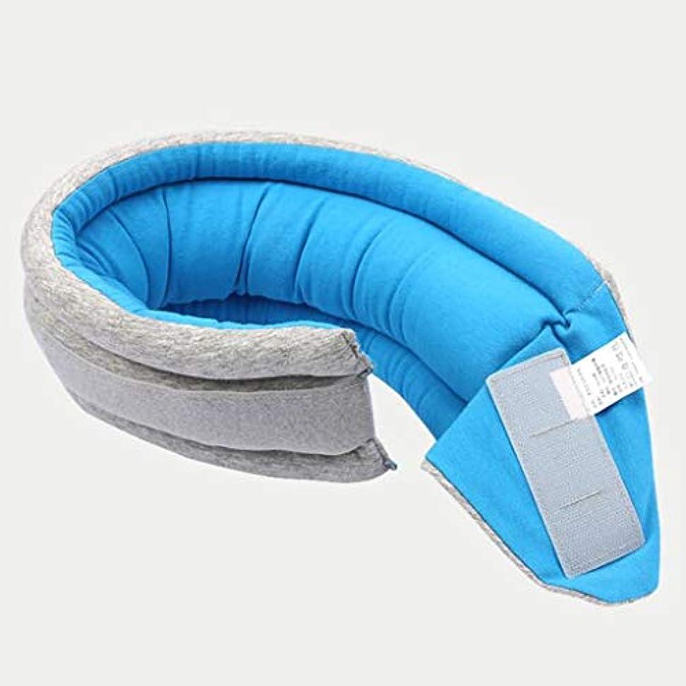 干し草油ストライプU字型枕安全ネック枕航空機旅行枕学生の仮眠枕ポータブル折りたたみU字型枕 JSFQ (Color : Blue)