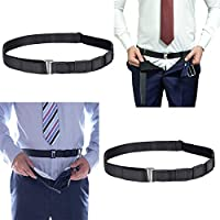 """2 Pack Belt Style Shirt Stays, Keeps Shirt Tucked in, Formal Professional Attire Undergarment Lock for Men Police Military Forces (1.2"""", One Size, Black)"""