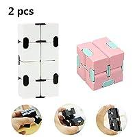 無限の立方体、大人の減圧アーチファクト玩具、ストレスや不安/多動性障害のおもちゃ、大人と子供のための立方体のおもちゃ(2 Pcs),D