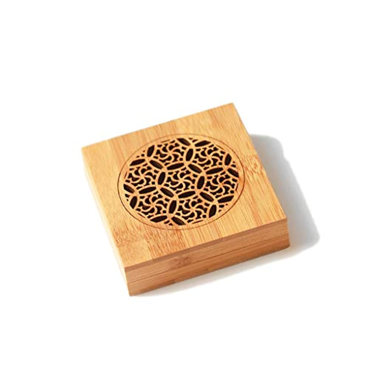 生物学壁紙医学竹の香バーナーコイルの香バーナー部屋の装飾瞑想竹の香り天然素材香ホルダー 芳香器?アロマバーナー (Color : WOOD, サイズ : Square)