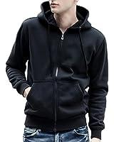 (アリルチョウ) パーカー メンズ アウター 無地 厚手 おしゃれ ジップ アップ 服 上著 長袖 おおきい トップス 黒 ブラック XXL サイズ