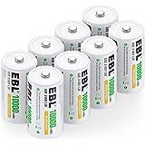 EBL Rechargeable D Batteries 10,000mAh High Capacity Lasting Rechargable Batteries, 8 Counts