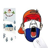 オランダの旗の顔の化粧マスクを叫んでいるキャップ サンタクロース家屋ゴムのマウスパッド