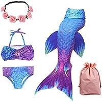 LANTOP Girl Swimsuit Reinforced Mermaid Tail for Swimming 3Pcs Bikini Bathing Suit Set