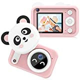 Bright Platinum Kids Camera, 1080P HD Selfie Dual Video Cameras for Toddler, Birthday Gifts for Girl, Portable Toy for 4~13 Year Old Girls, Rechargeable Electronic Camera with 32GB TF Card (Pink)