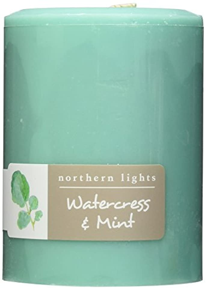 Northern Lights Candles Watercress &ミントFragranceパレットPillar Candle、3 x 4