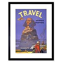 Travel Tourism Ship Liner Egypt Sphinx Vintage Advert Framed Wall Art Print