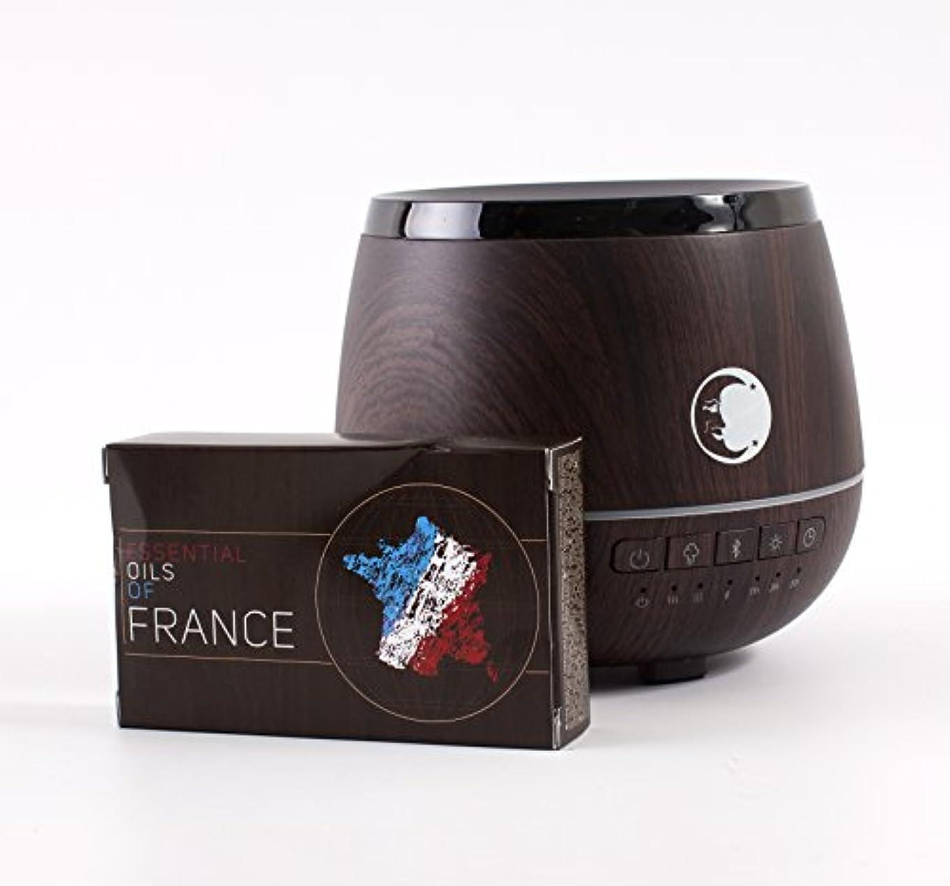 摘む太鼓腹海港Mystic Moments | Wood Effect Aromatherapy Oil Ultrasonic Diffuser With Bluetooth Speaker & LED Lights + Essential Oils Of France Essential Starter Pack
