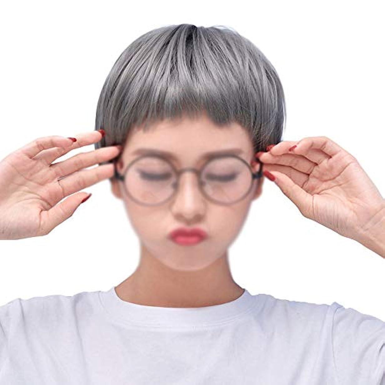 間接的韓国語トレイルWASAIO 女性用コスプレウィッグショートボブストレートヘアウィッグ (色 : グレー)