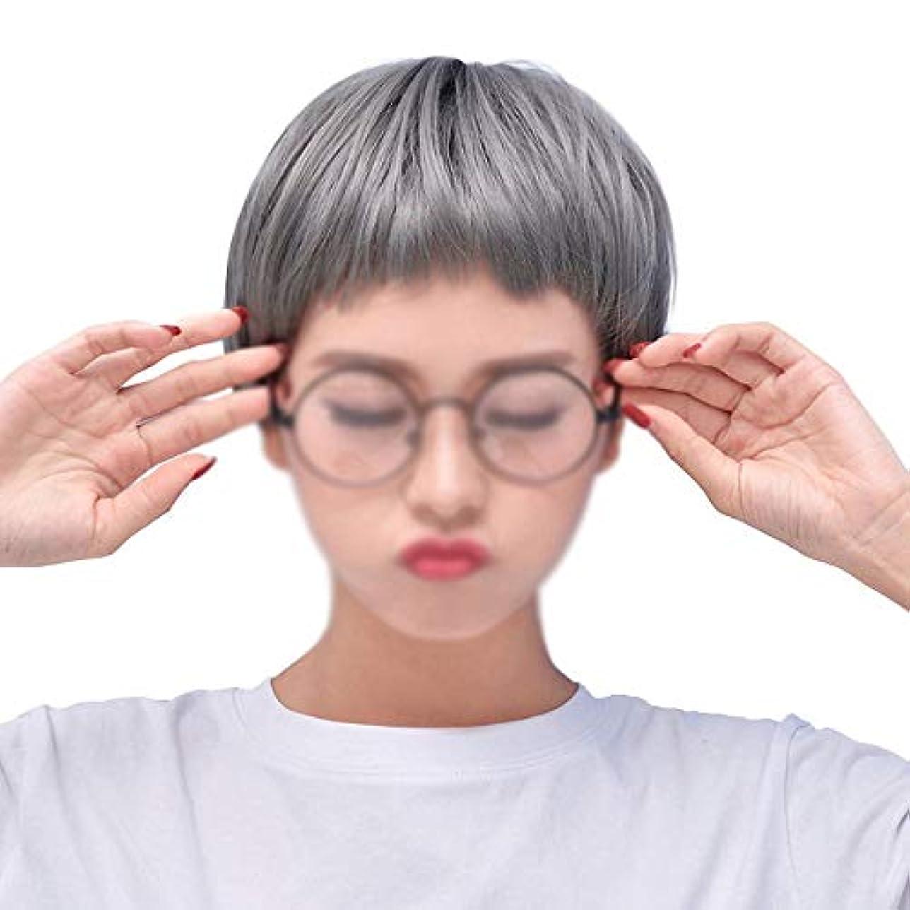 予約面認識WASAIO 女性用コスプレウィッグショートボブストレートヘアウィッグ (色 : グレー)