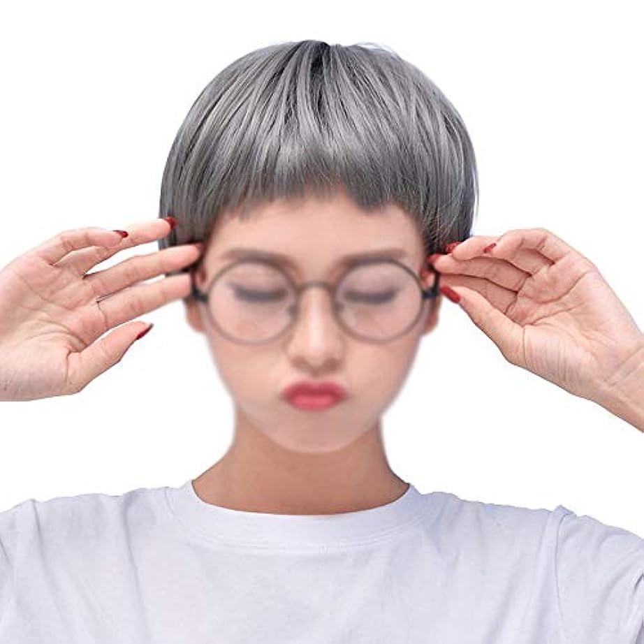 ミトンベジタリアン栄光WASAIO 女性用コスプレウィッグショートボブストレートヘアウィッグ (色 : グレー)